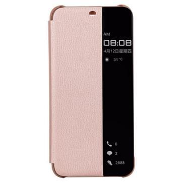 Litchi textuur slimme horizontale Flip lederen draagtas voor Huawei mate 20 lite  met oproep display ID (Rose goud)