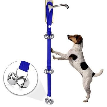Pet Dog Training Bell Nylon Rope Traction Rope Doorbell Leash Dog Anti-lost Bell with 7 Bells (Blue)