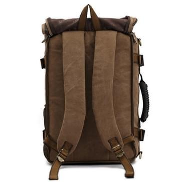 KAUKKO Outdoor Sport Climbing Canvas Large Capacity Backpack Camping Hiking Trekking Rucksack Versatile Travel Crossbody Bag with for Men(Dark Khaki)