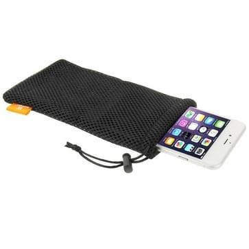 HAWEEL Nylon Mesh pouch tas met bevestigingskoord voor jouw iPhone 6 Plus / 5.5 inch mobiele telefoon, Grootte: 18.5cm x 9cm(zwart)
