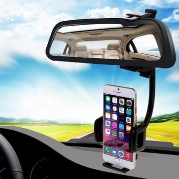 HAWEEL 2 in 1 universeel auto-achteruitkijkspiegel Stand mobiele telefoon Mount houder voor iPhone 6 & 6 Plus / iPhone 5 & 5S & 5 C / Smartphone, klemgrootte: 40mm-80mm(zwart)