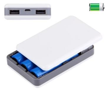 draagbare High-efficiency 3 x 18650 batterijen Plastic Power Bank Shell Box met Dual USB Output & warmtedissipatie gat voor iPhone, iPad, Samsung, LG, Sony Ericsson, MP4, PSP, Camera, batterijen niet inbegrepen