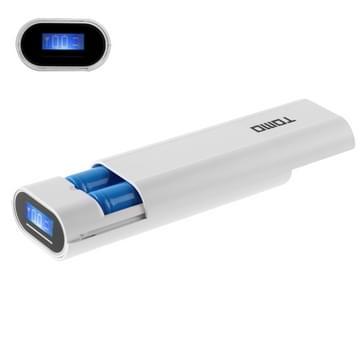 TOMO V8-2 DIY Lader 2 x 18650 batterijen Power Bank Shell Box met LCD display & 2 USB Output voor iPhone, iPad, Samsung, HTC, Sony, batterijen niet Includedwit