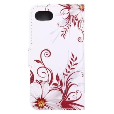 iPhone 7 & 8 horizontaal Wit bloemen patroon PU leren Flip Hoesje met houder en opbergruimte voor pinpassen & geld
