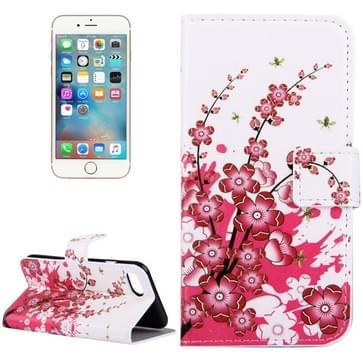 iPhone 7 & 8 horizontaal Pruimen bloesem patroon PU leren Flip Hoesje met houder en opbergruimte voor pinpassen & geld