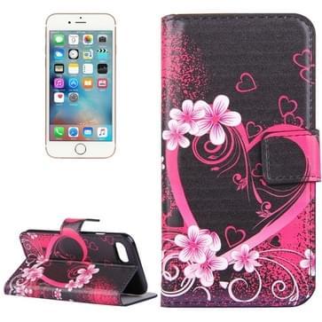 iPhone 7 & 8 horizontaal LOVE hartje bloemen patroon PU leren Flip Hoesje met houder en opbergruimte voor pinpassen & geld