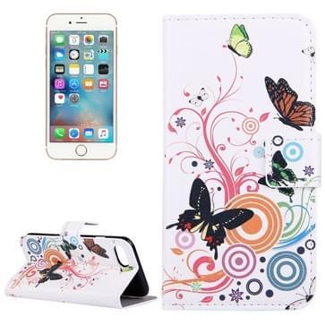 iPhone 7 & 8 horizontaal Artistiek vlinders patroon PU leren Flip Hoesje met houder en opbergruimte voor pinpassen & geld