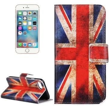 iPhone 7 & 8 horizontaal UK Vlag patroon PU leren Flip Hoesje met houder en opbergruimte voor pinpassen & geld