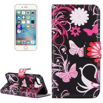 iPhone 7 & 8 horizontaal Vlinders bloemen patroon PU leren Flip Hoesje met houder en opbergruimte voor pinpassen & geld