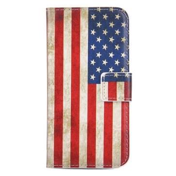 iPhone 7 & 8 horizontaal USA Vlag patroon PU leren Flip Hoesje met houder en opbergruimte voor pinpassen & geld