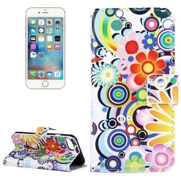 iPhone 7 & 8 horizontaal Kleurrijk abstract bloemen patroon PU leren Flip Hoesje met houder en opbergruimte voor pinpassen & geld