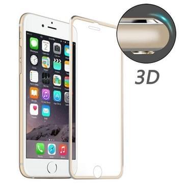 ENKAY voor iPhone 8 & iPhone 7 Hat-Prins 0.2mm 9H oppervlakte hardheid 3D aluminiumlegering gebogen rand explosieveilige getemperd glas scherm Protector(Gold)