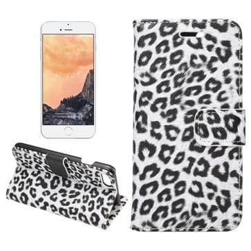 iPhone 7 & 8 horizontaal Luipaard patroon PU leren Flip Hoesje met houder en opbergruimte voor pinpassen & geld Wit