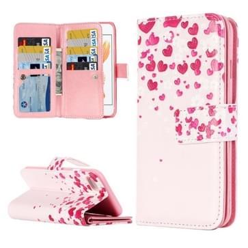 iPhone 7 & 8 horizontaal LOVE hartjes patroon PU leren Flip Hoesje met houder en opbergruimte voor veel pinpassen & geld