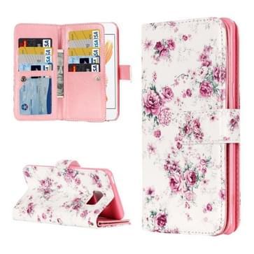 iPhone 7 & 8 horizontaal Chinees rozen patroon PU leren Flip Hoesje met houder en opbergruimte voor veel pinpassen & geld
