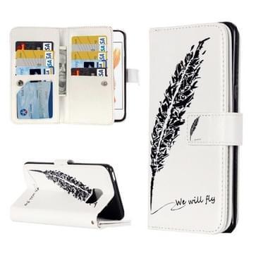 iPhone 7 & 8 horizontaal Zwart veren patroon PU leren Flip Hoesje met houder en opbergruimte voor veel pinpassen & geld