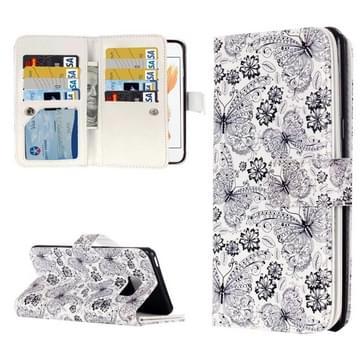 iPhone 7 & 8 horizontaal Zwart wit vlinders patroon PU leren Flip Hoesje met houder en opbergruimte voor veel pinpassen & geld