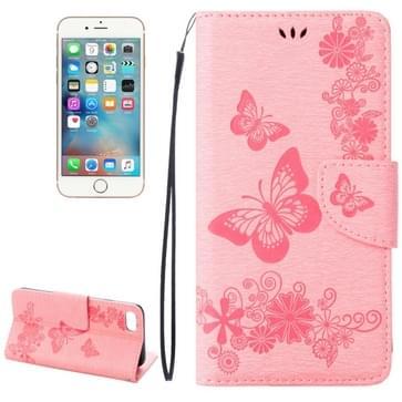 iPhone 7 & 8 horizontaal 3D Vlinders bloemen patroon PU leren Flip Hoesje met houder en opbergruimte voor pinpassen & geld (roze)