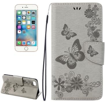 iPhone 7 & 8 horizontaal 3D Vlinders bloemen patroon PU leren Flip Hoesje met houder en opbergruimte voor pinpassen & geld (grijs)