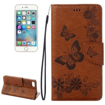 iPhone 7 & 8 horizontaal 3D Vlinders bloemen patroon PU leren Flip Hoesje met houder en opbergruimte voor pinpassen & geld (bruin)