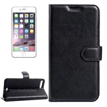 iPhone 7 Plus & 8 Plus horizontaal Litchi structuur PU leren Flip Hoesje met houder, magnetische sluiting en opbergruimte voor pinpassen & geld (zwart)