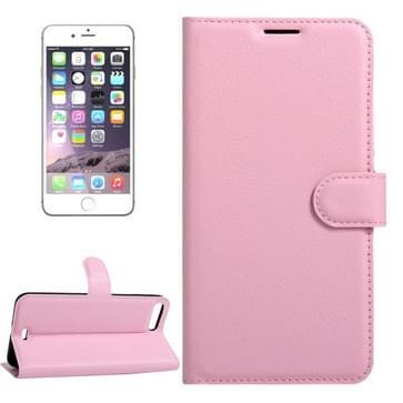 iPhone 7 Plus & 8 Plus horizontaal Litchi structuur PU leren Flip Hoesje met houder, magnetische sluiting en opbergruimte voor pinpassen & geld (roze)