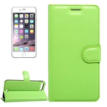 iPhone 7 Plus & 8 Plus horizontaal Litchi structuur PU leren Flip Hoesje met houder, magnetische sluiting en opbergruimte voor pinpassen & geld (groen)