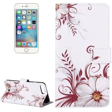 iPhone 7 Plus & 8 Plus horizontaal Wit bloemen patroon PU leren Flip Hoesje met houder en opbergruimte voor pinpassen & geld