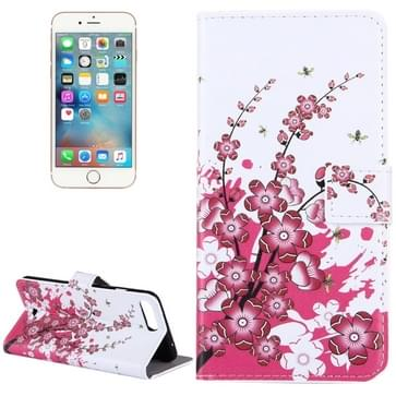 iPhone 7 Plus & 8 Plus horizontaal Pruimen bloesem patroon PU leren Flip Hoesje met houder en opbergruimte voor pinpassen & geld