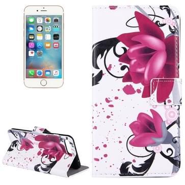 iPhone 7 Plus & 8 Plus horizontaal Lotus bloemen patroon PU leren Flip Hoesje met houder en opbergruimte voor pinpassen & geld