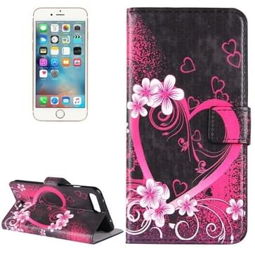 iPhone 7 Plus & 8 Plus horizontaal LOVE hartjes bloemen patroon PU leren Flip Hoesje met houder en opbergruimte voor pinpassen & geld