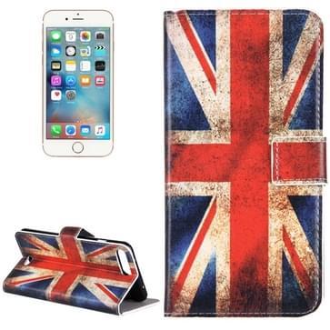 iPhone 7 Plus & 8 Plus horizontaal UK vlag patroon PU leren Flip Hoesje met houder en opbergruimte voor pinpassen & geld