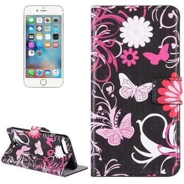 iPhone 7 Plus & 8 Plus horizontaal Vlinders LOVE bloemen patroon PU leren Flip Hoesje met houder en opbergruimte voor pinpassen & geld