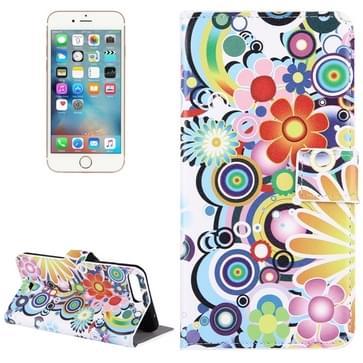 iPhone 7 Plus & 8 Plus horizontaal Kleurrijk abstract bloemen patroon PU leren Flip Hoesje met houder en opbergruimte voor pinpassen & geld