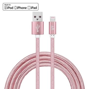 YF-MX03 2m 2.4A MFI gecertificeerde 8-pins naar USB-Nylon weven stijl Data Sync opladen kabel  voor iPhone X  8 iPhone  iPhone 7 & 7 Plus  iPhone 6 & 6s  iPhone 6 Plus & 6s Plus  iPhone 5 & 5s & 5 C  iPad Air  iPad mini (Rose Gold)
