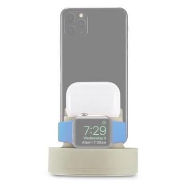 3 in 1 Multifunctionele Siliconen Mobile Phone Charging Stand Base voor iPhones & Apple Watch Series 5 / 4 / 3 / 2 / 1 & AirPods 1 / 2 / Pro (Beige)