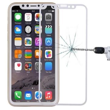 Voor iPhone X 0.3 mm 9H oppervlakte hardheid 4D gebogen volledige scherm Tempered glas Screen Protector (wit)