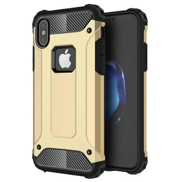 iPhone X Robuust pantser beschermend TPU + plastic back cover Hoesje (goudkleurig)