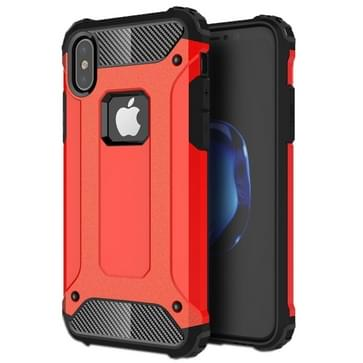 iPhone X Robuust pantser beschermend TPU + plastic back cover Hoesje (rood)