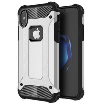 iPhone X Robuust pantser beschermend TPU + plastic back cover Hoesje (zilverkleurig)