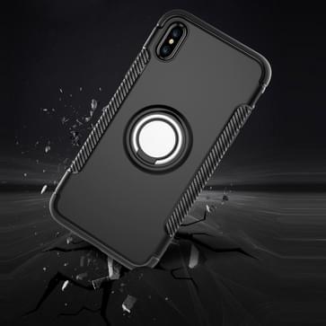 iPhone X Robuust pantser beschermend TPU + plastic back cover Hoesje met 360 graden draaiende magnetische houder (zilverkleurig)