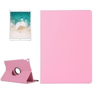 iPad Pro 10.5 inch horizontaal 360 graden draaiend Litchi structuur PU leren Flip Hoesje met houder (roze)