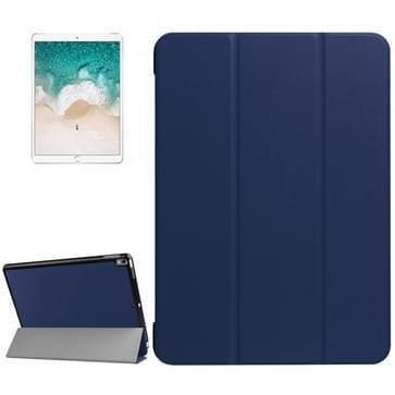 Voor iPad Pro 10.5 inch PU Litchi structuur 3-vouw Smart hoesje Clear Back Cover met houder(navy)