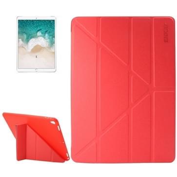 iPad Pro 10.5 inch horizontaal Lamshuid structuur PU leren ENKAY Flip Hoesje met drievouws houder en slaap / ontwaak functie (rood)