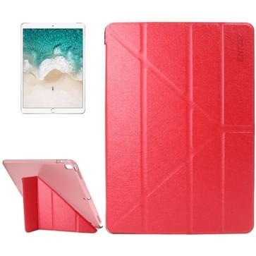 iPad Pro 10.5 inch horizontaal Zijde structuur PU leren ENKAY Flip Hoesje met drievouws houder en doorschijnend back cover (rood)