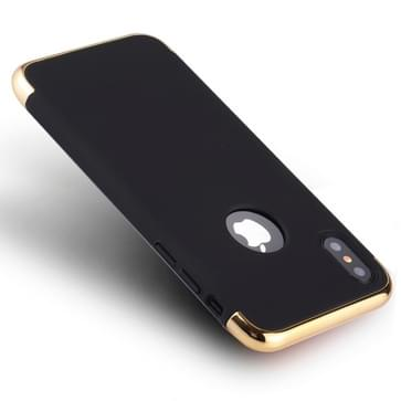 Voor iPhone X drie fase Splicing galvaniseren kant back cover beschermhoes (zwart)