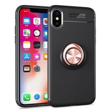 Metalen ringhouder 360 graden roterende TPU-hoes voor iPhone X / XS (Zwart+Goud)