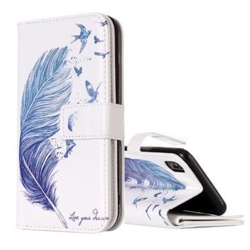 Voor iPhone X blauw veren patroon horizontaal flip lederen draagtas met houder & Card Slots & portemonnee & fotolijstjes
