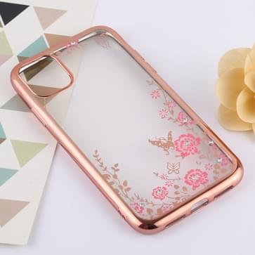 Bloemen patronen galvaniseren zachte TPU beschermende cover Case voor iPhone 11 Pro Max (Rose Gold)