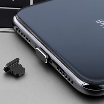 Universele 8-pins Oplaadpoort metalen anti-Dust plug voor iPhone met ejection pin (zwart)